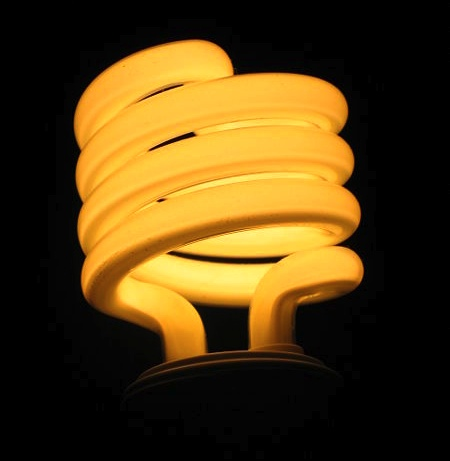 Sprial flourescent lightbulb. Licensed through 123rf.com.