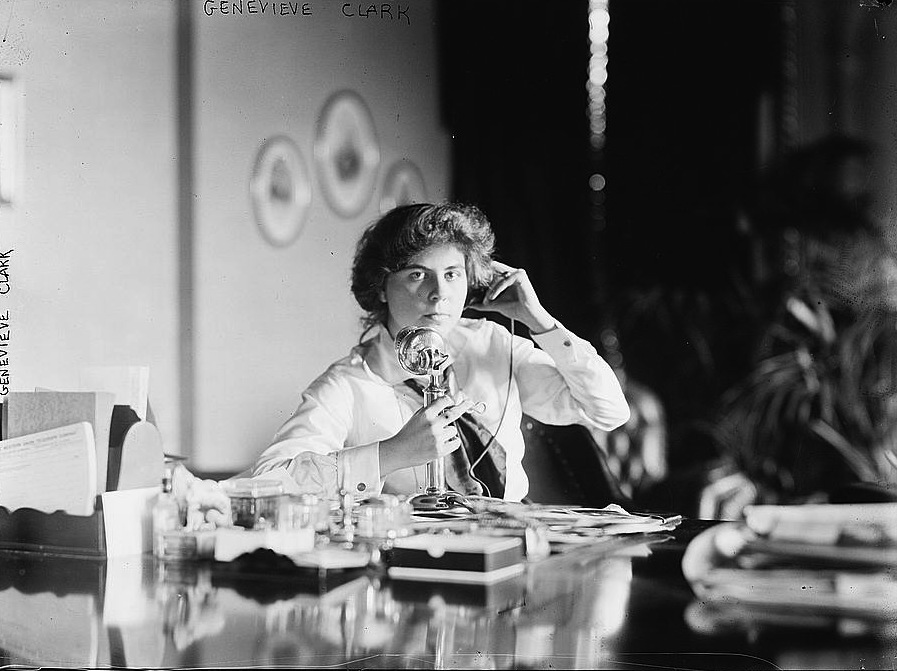 Genevieve Clark on telephone, circa 1910.