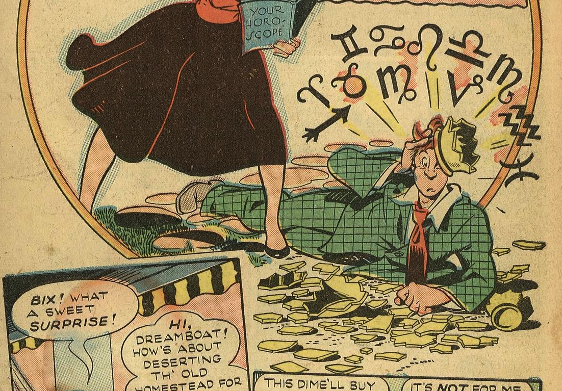 "Bix sits in confusion (Detail), from ""Heaven's to Betsy!"", Club ""16"" comics"