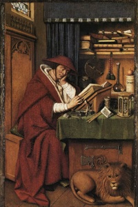 Van Eyck's St. Jerome. From Wikimedia Commons.