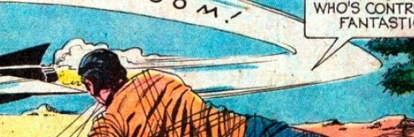 Banner; detail of Star Trek comic book showing Captain Kirk on the ground.