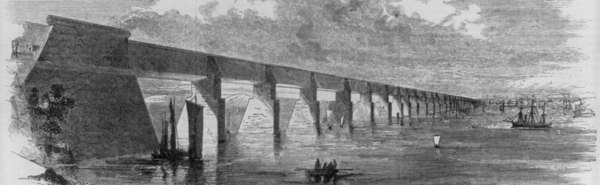 Great tubular bridge, etching. Via Library of Congress. PD.