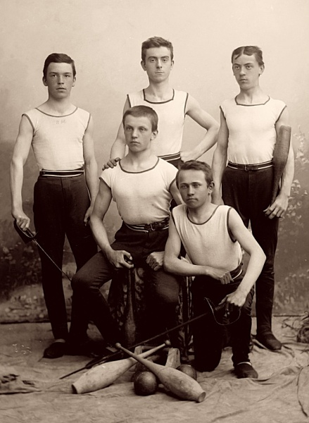 Members of Sokol club in sport costumes, approx. 1900. author: echtl a Vose?ek http://sechtl-vosecek.ucw.cz/cml/dir/group_photos_of_sokol.html Uploaded with approval of inheritors of the copyright