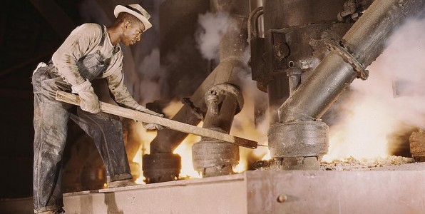 Black man working large electric phosphate smelting furnace make elemental phosphorus, TVA chemical plant Muscle Shoals, AL). 1942 by Alfred T. Palmer (via LOC)