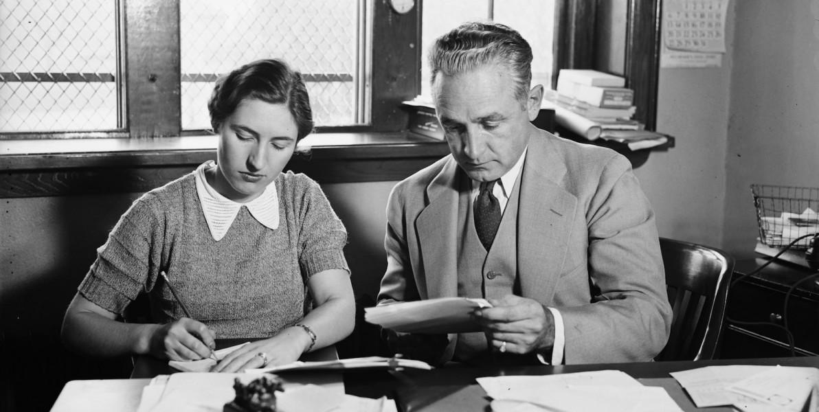 Mary E. Rundlett, new Secretary for Coach Dutch Bergman. October 31, 1935. Via Library of Congress. Public Domain