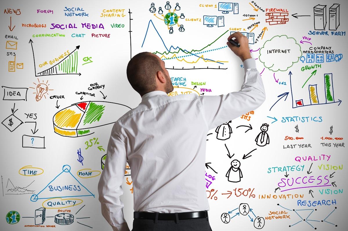 Man drawing complex diagrams on whiteboard. (c) alphaspirit. Shutterstock.