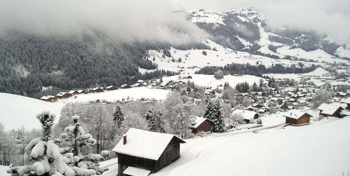 Looking down at Château-d'Oex from our chateau on after a snowfall. © E. Forrest Christian.
