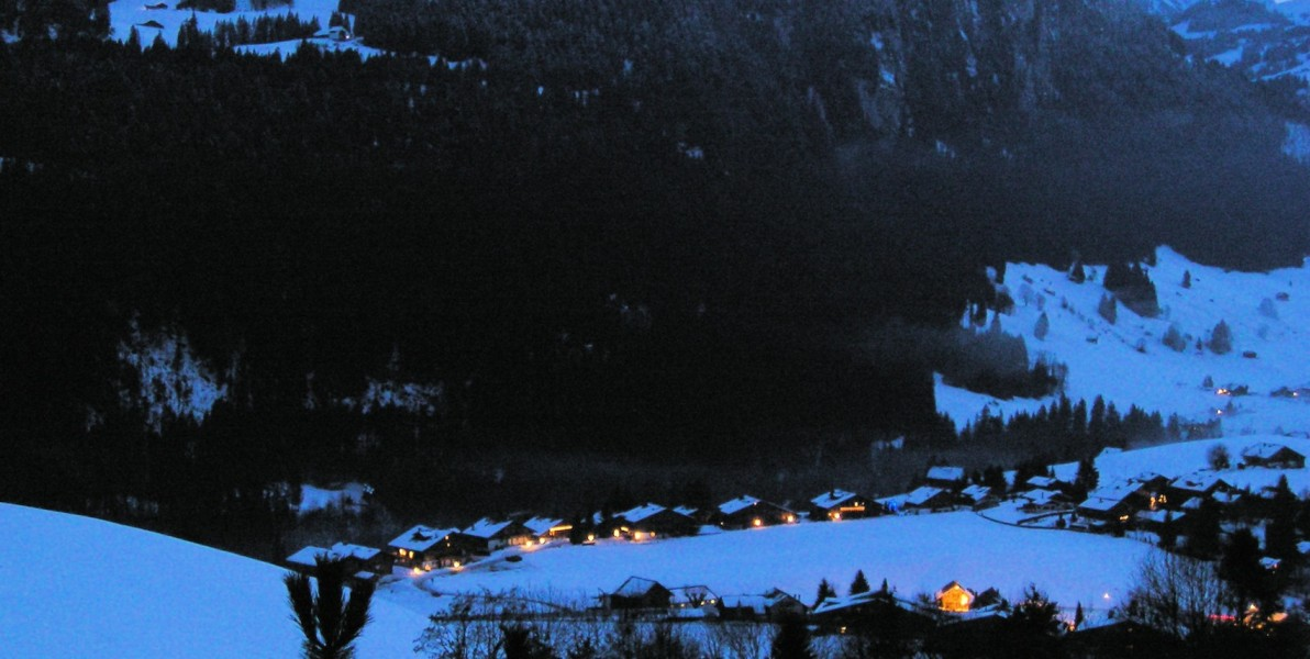 Château-d'Oex at night, looking across to the mountain. (c) E. Forrest Christian.