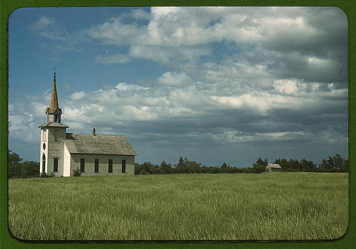 Church near Junction City, Kansas. c 1942. Vachon, John, photographer. US Library of Congress collection.